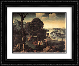 Landscape with St. John the Baptist Preaching 24x20 Black or Gold Ornate Framed and Double Matted Art Print by Joachim Patinir