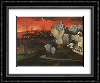 Landscape with the destruction of Sodom and Gomorrah 24x20 Black or Gold Ornate Framed and Double Matted Art Print by Joachim Patinir