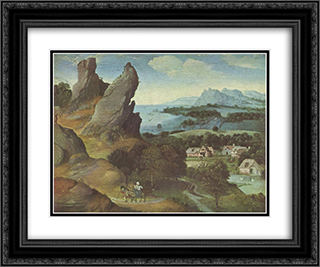 Landscape with the Flight 24x20 Black or Gold Ornate Framed and Double Matted Art Print by Joachim Patinir