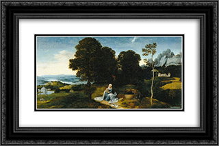 Landscape with The Flight into Egypt 24x16 Black or Gold Ornate Framed and Double Matted Art Print by Joachim Patinir
