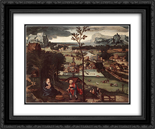 Landscape with the Rest on the Flight 24x20 Black or Gold Ornate Framed and Double Matted Art Print by Joachim Patinir