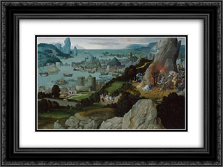 Miracle of St. Catherine 24x18 Black or Gold Ornate Framed and Double Matted Art Print by Joachim Patinir