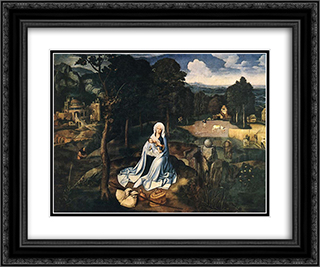 Rest During The Flight To Egypt 24x20 Black or Gold Ornate Framed and Double Matted Art Print by Joachim Patinir
