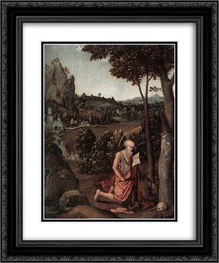 Rocky Landscape with Saint Jerome 20x24 Black or Gold Ornate Framed and Double Matted Art Print by Joachim Patinir