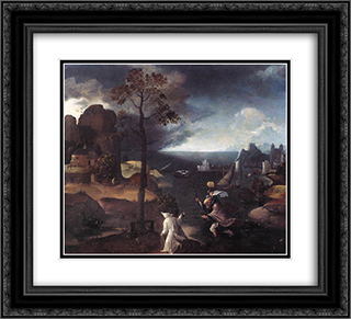 St. Christopher Bearing the Christ Child 22x20 Black or Gold Ornate Framed and Double Matted Art Print by Joachim Patinir