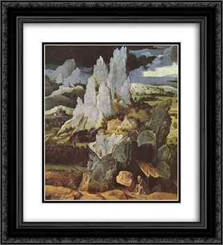 St. Jerome in Rocky Landscape 20x22 Black or Gold Ornate Framed and Double Matted Art Print by Joachim Patinir