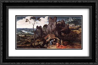St. Jerome in the Desert 24x16 Black or Gold Ornate Framed and Double Matted Art Print by Joachim Patinir