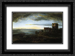 Avaldsnes church 24x18 Black or Gold Ornate Framed and Double Matted Art Print by Johan Christian Dahl