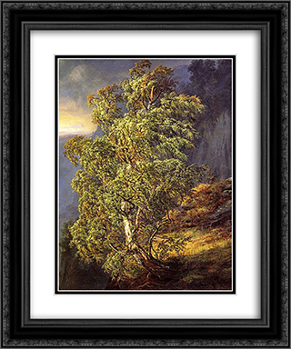 Bjerk i storm 20x24 Black or Gold Ornate Framed and Double Matted Art Print by Johan Christian Dahl