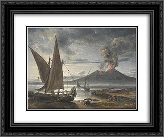Boats on the Beach Near Naples 24x20 Black or Gold Ornate Framed and Double Matted Art Print by Johan Christian Dahl