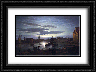 Copenhagen Harbour by Moonlight 24x18 Black or Gold Ornate Framed and Double Matted Art Print by Johan Christian Dahl