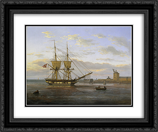 Entrance to the Port of Copenhagen 24x20 Black or Gold Ornate Framed and Double Matted Art Print by Johan Christian Dahl