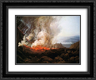 Eruption of Vesuvius 24x20 Black or Gold Ornate Framed and Double Matted Art Print by Johan Christian Dahl