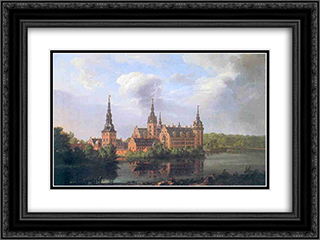 Frederiksborg Castle 24x18 Black or Gold Ornate Framed and Double Matted Art Print by Johan Christian Dahl