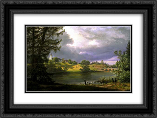 Frogner Manor 24x18 Black or Gold Ornate Framed and Double Matted Art Print by Johan Christian Dahl