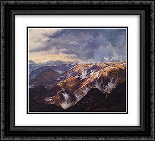 Lyshornet bei Bergen 22x20 Black or Gold Ornate Framed and Double Matted Art Print by Johan Christian Dahl