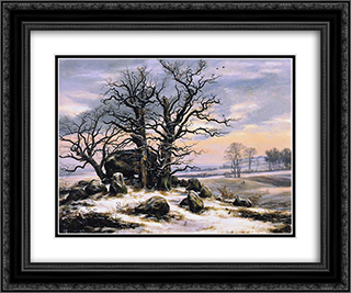 Megalith Grave in Winter 24x20 Black or Gold Ornate Framed and Double Matted Art Print by Johan Christian Dahl