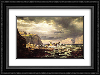 Shipwreck on the Coast of Norway 24x18 Black or Gold Ornate Framed and Double Matted Art Print by Johan Christian Dahl