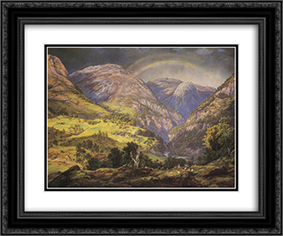 Stalheim 24x20 Black or Gold Ornate Framed and Double Matted Art Print by Johan Christian Dahl