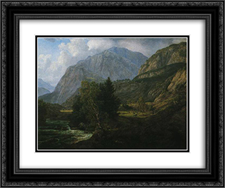 View of Fortundalen 24x20 Black or Gold Ornate Framed and Double Matted Art Print by Johan Christian Dahl