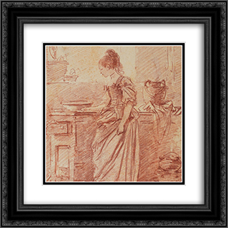 Die hubsche Kochin 20x20 Black or Gold Ornate Framed and Double Matted Art Print by Johann Anton de Peters