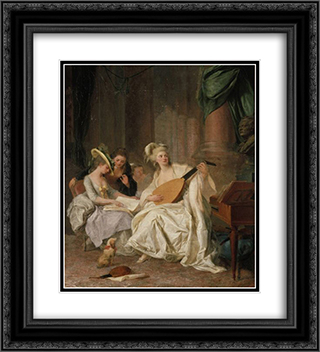 Huldigung an Gluck 20x22 Black or Gold Ornate Framed and Double Matted Art Print by Johann Anton de Peters