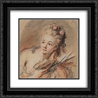 Junge Frau, ein Buch lesend 20x20 Black or Gold Ornate Framed and Double Matted Art Print by Johann Anton de Peters