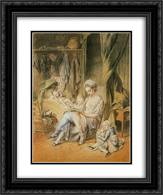 The Happy Mother 20x24 Black or Gold Ornate Framed and Double Matted Art Print by Johann Anton de Peters