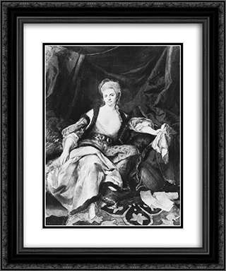 Woman with lute 20x24 Black or Gold Ornate Framed and Double Matted Art Print by Johann Anton de Peters