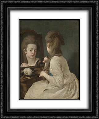 Young lady at her toilet combing her hair 20x24 Black or Gold Ornate Framed and Double Matted Art Print by Johann Anton de Peters