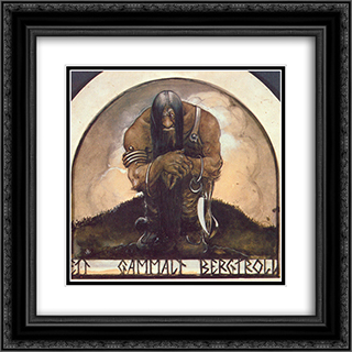 An old mountain troll 20x20 Black or Gold Ornate Framed and Double Matted Art Print by John Bauer