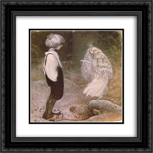 At that moment she was changed by magic to a wonderful little fairy 20x20 Black or Gold Ornate Framed and Double Matted Art Print by John Bauer
