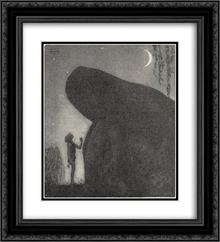 Awake Groa Awake Mother 20x22 Black or Gold Ornate Framed and Double Matted Art Print by John Bauer