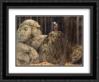 Barn och stentroll 24x20 Black or Gold Ornate Framed and Double Matted Art Print by John Bauer