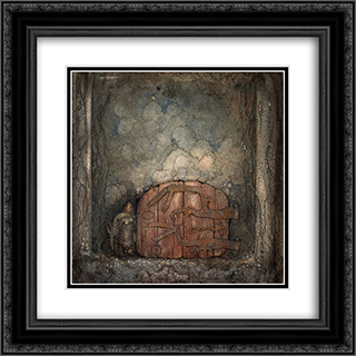 Bergaporten 20x20 Black or Gold Ornate Framed and Double Matted Art Print by John Bauer