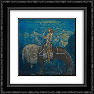 En riddare red fram 20x20 Black or Gold Ornate Framed and Double Matted Art Print by John Bauer