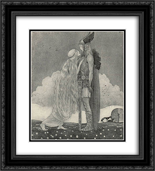 Freyja and Svipdag 20x22 Black or Gold Ornate Framed and Double Matted Art Print by John Bauer
