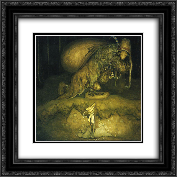 Good evening, old man! the boy greeted 20x20 Black or Gold Ornate Framed and Double Matted Art Print by John Bauer