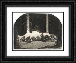 In the Christmas Night 24x20 Black or Gold Ornate Framed and Double Matted Art Print by John Bauer