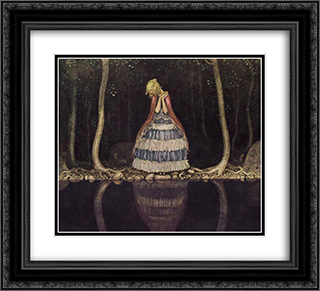 Inge dark lake 22x20 Black or Gold Ornate Framed and Double Matted Art Print by John Bauer