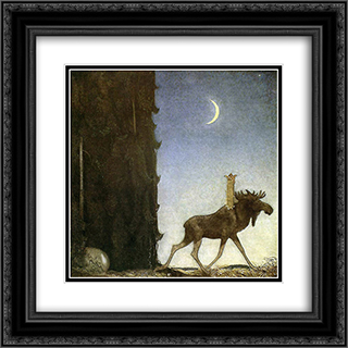 Jbleap the elk 20x20 Black or Gold Ornate Framed and Double Matted Art Print by John Bauer