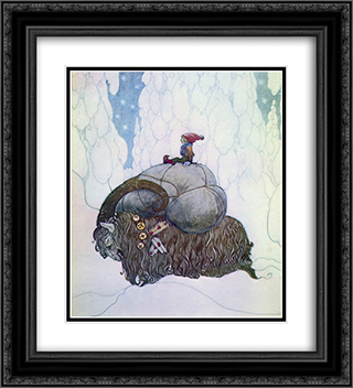 Julbocken 20x22 Black or Gold Ornate Framed and Double Matted Art Print by John Bauer