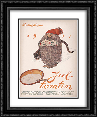 Jultomten 20x24 Black or Gold Ornate Framed and Double Matted Art Print by John Bauer