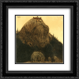King of the hill 20x20 Black or Gold Ornate Framed and Double Matted Art Print by John Bauer