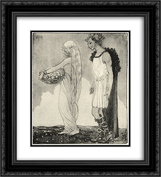 Loki and Idun 20x22 Black or Gold Ornate Framed and Double Matted Art Print by John Bauer