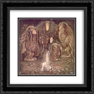 Look at my sons! You won't find more beautiful trolls on this side of the moon 20x20 Black or Gold Ornate Framed and Double Matted Art Print by John Bauer