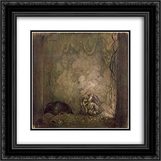 Mother love 20x20 Black or Gold Ornate Framed and Double Matted Art Print by John Bauer