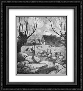 Nils Holgersson 20x22 Black or Gold Ornate Framed and Double Matted Art Print by John Bauer
