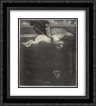 Odin and Sleipnir 20x22 Black or Gold Ornate Framed and Double Matted Art Print by John Bauer