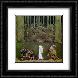 One summer's evening they went with Bianca Maria deep into the forest 20x20 Black or Gold Ornate Framed and Double Matted Art Print by John Bauer